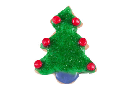 hots: Christmas tree cookie on a white background
