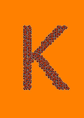 Happy Halloween alphabet letter K on orange background photo