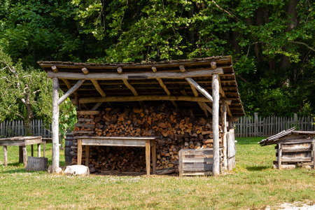 Firewood storage building on a country farm