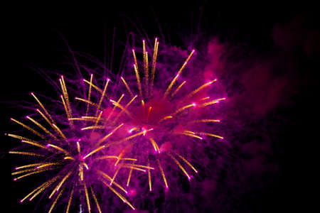Fireworks in the sky bursting into designs