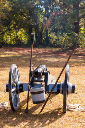 Civil War cannon at the ready on the battlefield