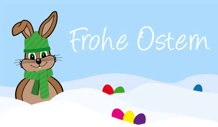 cheerfully: Happy Easter in the snow - Easter Bunny with scarf and cap