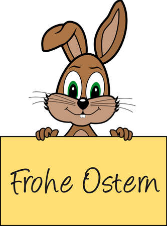 cheerfully: Happy Easter - Easter Bunny holds a sign Illustration