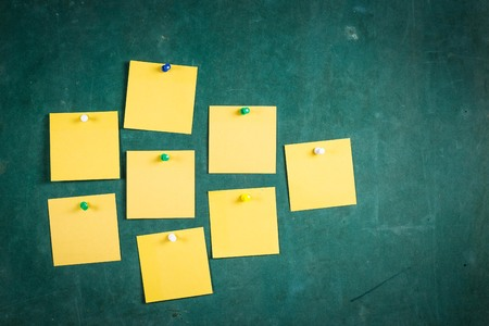 note pad: Empty paper,Note Paper,white paper Blank Yellow paper ,Blank Yellow, paper on green board with tack pin for text and background