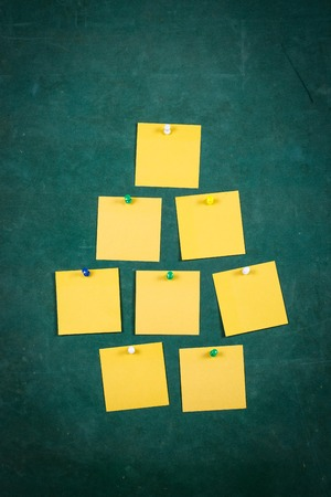 tack board: Empty paper,Note Paper,white paper Blank Yellow paper ,Blank Yellow, paper on green board with tack pin for text and background