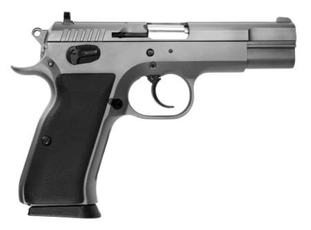 38 caliber: semi-automatic pistol isolated on white