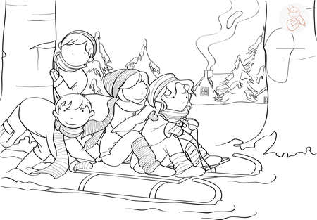 dibujos para colorear: niños alegres que juegan con el trineo cerca de la aldea cubierta de nieve para colorear página Vectores