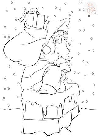 page down: Santa Claus coming down the chimney with presents - coloring page