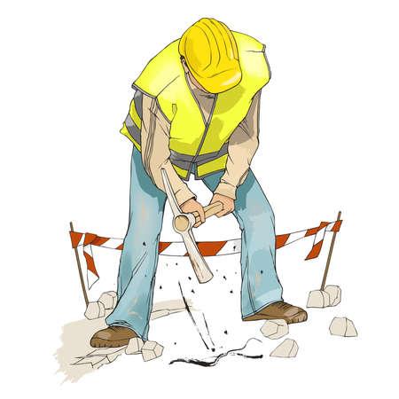 Budownictwo, mężczyzna kopanie z pick, ubrany w żółty kask budowlany i kamizelka odblaskowa