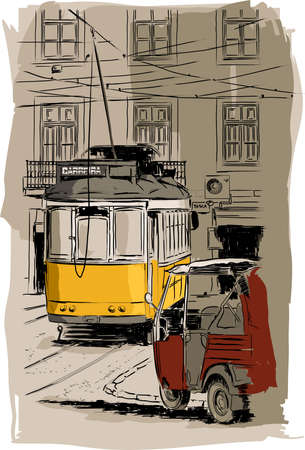 streetcar: old tramway illustration, Lisbon Illustration