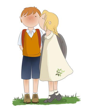 little boy and girl: Little kiss between two little friends Illustration