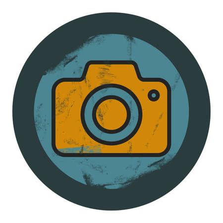 grunge camera icon - graphic design element Illustration