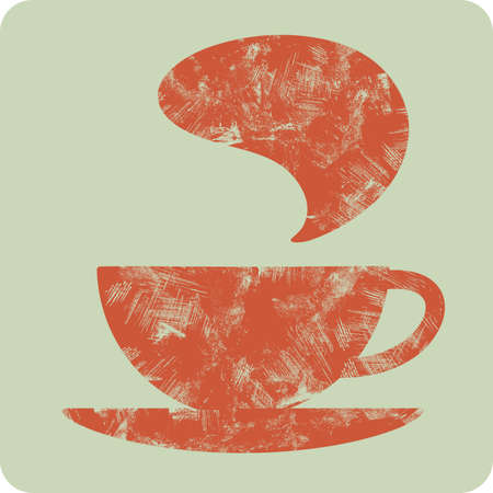 expresso: coffee  tea  grunge cup - vector icon Illustration
