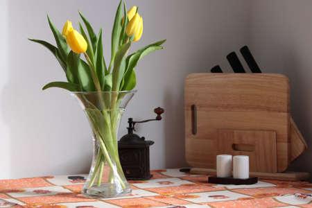 tulips on kitchen table Stock Photo - 4685138