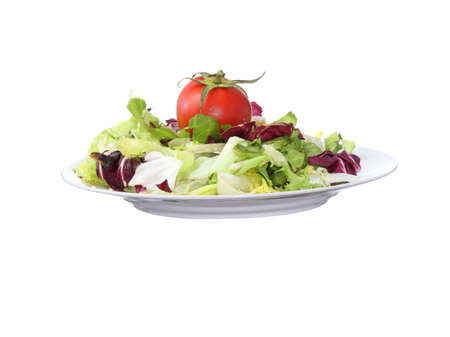 Vegetarian salad with tomato isolated on white background Stock Photo - 4738408