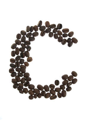 alfabet: Coffe letter C isolated on white background