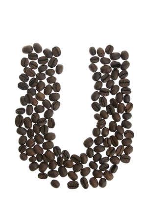 alfabet: Coffey letter U isolated on white background