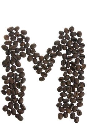 alfabet: Coffey letter M isolated on white background Stock Photo