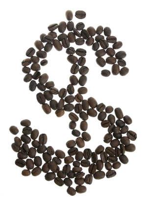 dolar: Coffey dolar $ signo aislado sobre fondo blanco