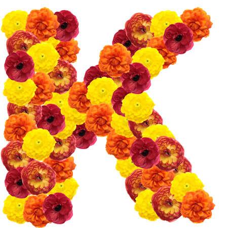 Alphabet of flowers isolated on white background photo