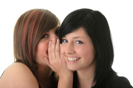 bruit: Two happy young girlfriends (sisters) talking over white