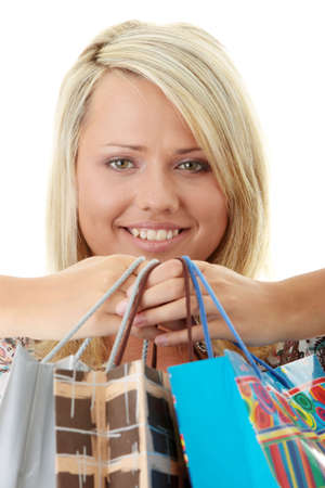 Attractive Young Blond Woman with Shopping Bags photo