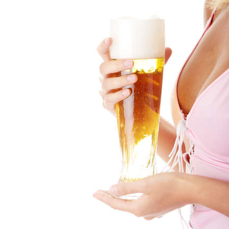 Young atractive blonde in sexy lingerie holding a beer photo