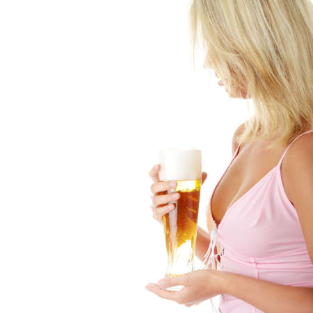 Young atractive blonde in sexy lingerie holding a beer Stock Photo - 5319262