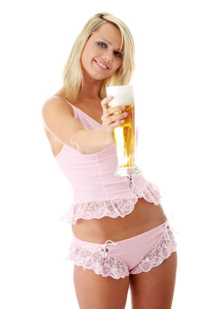Young atractive blonde in sexy lingerie holding a beer Stock Photo - 5319329