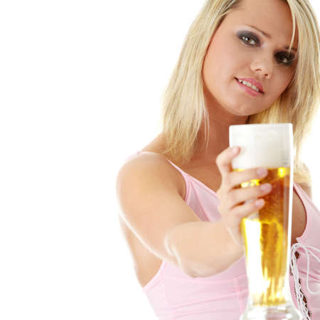 pilsner beer: Young atractive blonde in sexy lingerie holding a beer