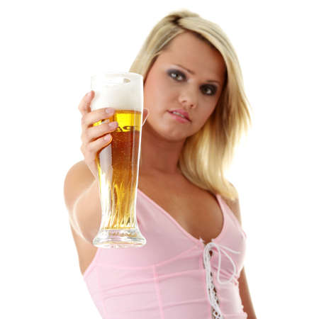 Young atractive blonde in sexy lingerie holding a beer - focus on beer