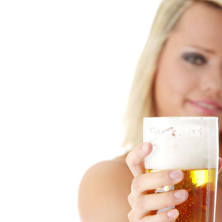 Young atractive blonde in sexy lingerie holding a beer - focus on beer photo