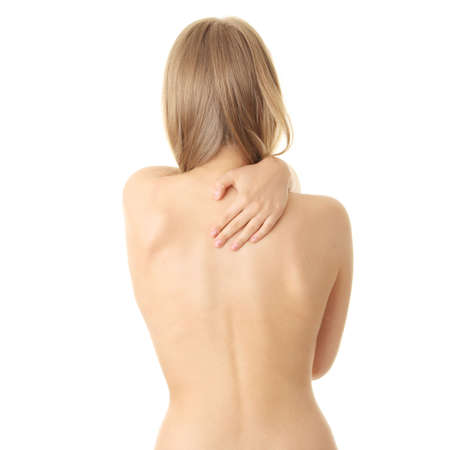 Woman from behind, body, pain concept Stock Photo