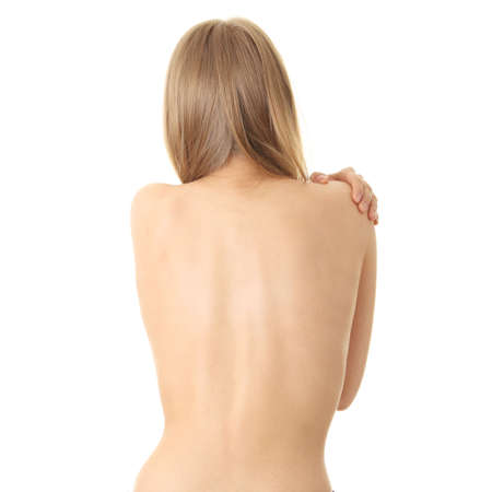nude woman standing: Woman from behind, body, pain concept Stock Photo