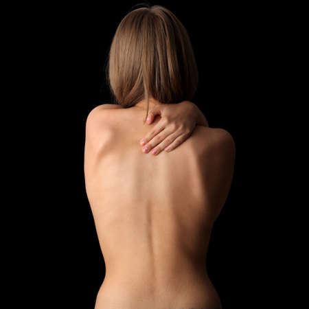 black girl nude: Woman from behind, body, pain concept Stock Photo