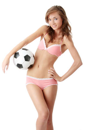 Fashion young woman with a football ball isolated over a white background Stock Photo - 5361354