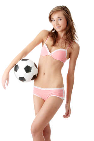 Fashion young woman with a football ball isolated over a white background Stock Photo - 5361359