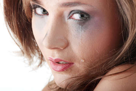 Emotional portrait of abused, crying, beautiful, young ,caucasian woman in underwear - violence concept Stock Photo - 5361344