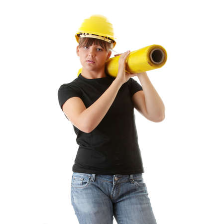 Young woman builder at work isolated on white Stock Photo - 5434853