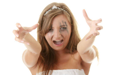 Young angry princess in white dress  - focus on hands Stock Photo - 5434284