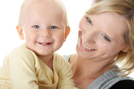 Bright closeup portrait of adorable baby boy and his mom Stock Photo - 5443733