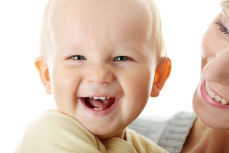 Bright closeup portrait of adorable baby boy and his mom   Stock Photo - 5443825
