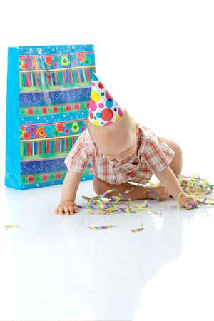 Child boy in birthday hat over white Stock Photo - 5362082