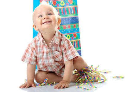 Child boy in birthday hat over white Stock Photo - 5927780