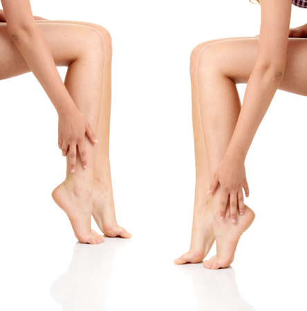 fem: Beautiful woman legs isolated on white background