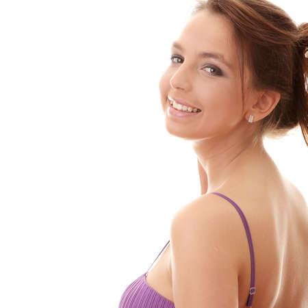 Attractive dancer girl in violet classic dress, studio shot photo