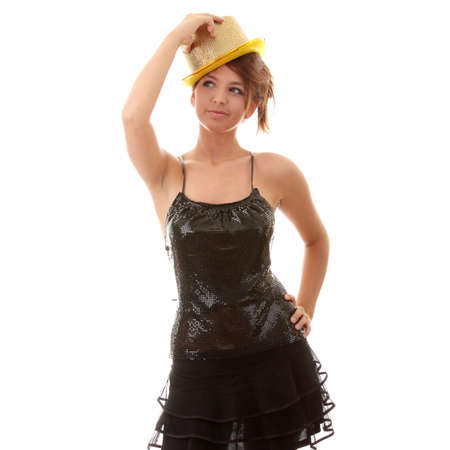 Beautiful young disco woman with shiny gold hat photo