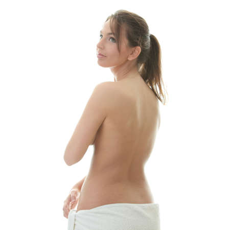 bare women: Young beautiful woman wering towel - spa concept