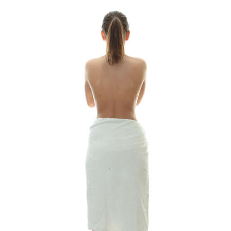 bare body women: Young beautiful woman wering towel - spa concept