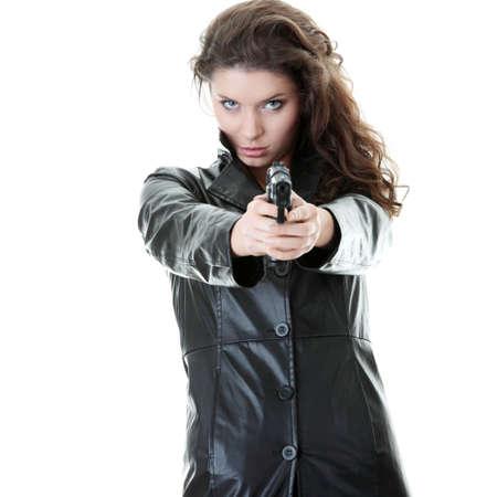 anleihe: Frau mit Pistole isoliert auf weißem Hintergrund Lizenzfreie Bilder